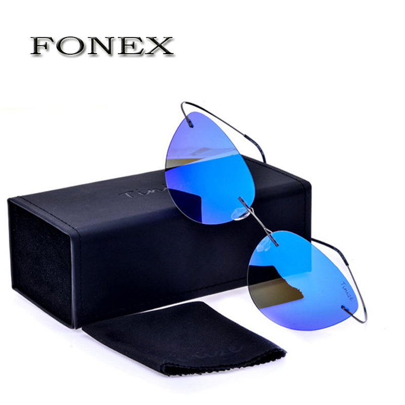 FONEX New Oculos De Sol Titanium Cat Eye Polarized Sunglasses Women Rimless Cateye Sun Glasses With Box weight 12g TZ603