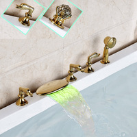 Water Powered LED Light Waterfall Spout Widespread 5 pc Bath Tub Sink Faucet Set with Hand Shower Deck Mounted