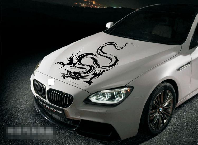 Reflective Dragon Totem Pattern Car Decals Stickers For Engine Cover