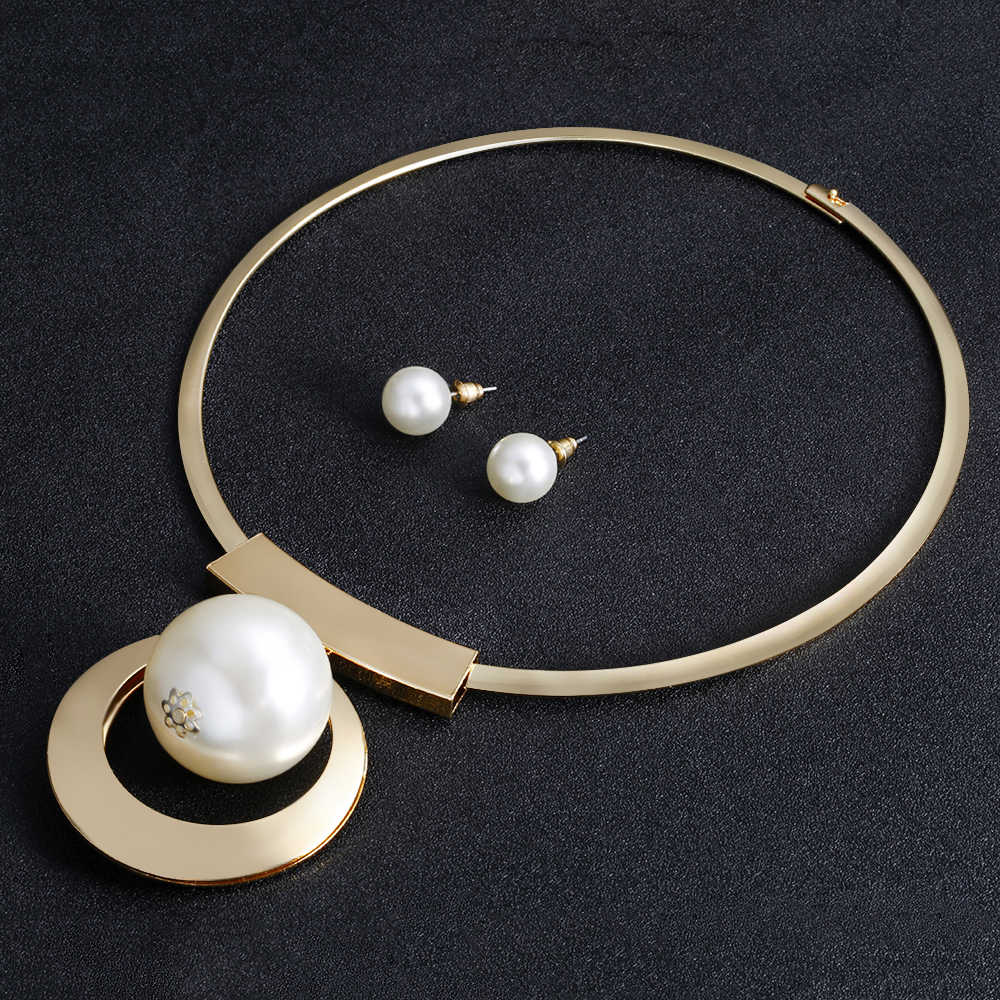 VIVILADY Bohemia Imitation Pearl Jewelry Sets Gold Color Big Beads Choker Necklace Earrings African Women Wedding Party Gifts