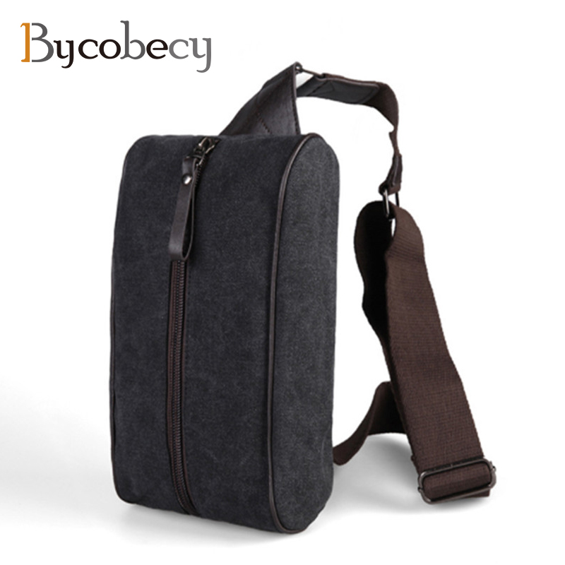BYCOBECY New Fashion Men Chest Bag Canvas Male Shoulder Bag Casual Travel Messenger Bag Men Small Cross Body Back Pack hot sale men pu leather shoulder cross body bag rucksack high quality messenger bags fashion casual male single chest back pack