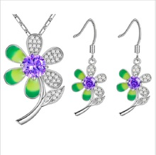 New Arrival sterling-silver-jewelry Sets 925 Sterling Silver Sets Necklace Earrings For Women Wedding with AAA Cubic Zircon
