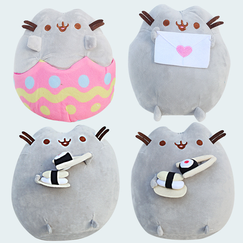 23cm New Pusheen Cat Plush Sushi Potato Chips Egg Shell Angel Pusheen Stuffed Plush Toys Doll Soft Animals Toy for Kids Children kawaii pusheen cat brinquedos 15cm 23cm donuts cupcake sushi