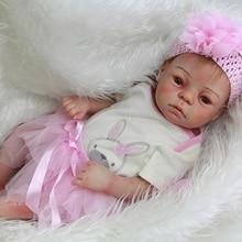 2016 Stylish Full Silicone Vinyl Reborn Baby Dolls 20 Inch Newborn Mohair Babies Girl With Knitted Dress Kids Birthday Xmas Gift