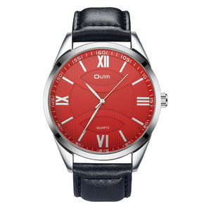 Image 2 - OULM Fashion Business Oversize Watch Men Quartz Clock Roman Number Red Dial Leather Strap Classic Mens Watches Top Brand Luxury