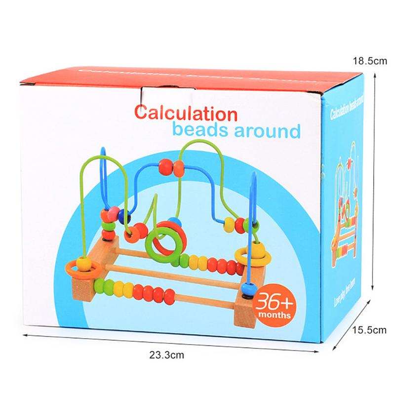 Wooden Baby Math Toys Counting Circles Bead Abacus Wire Maze Roller ...