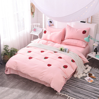 Princess style strawberry bedding set king queen size bed linen bedclothes set modern embroidered duvet cover set for girls 36