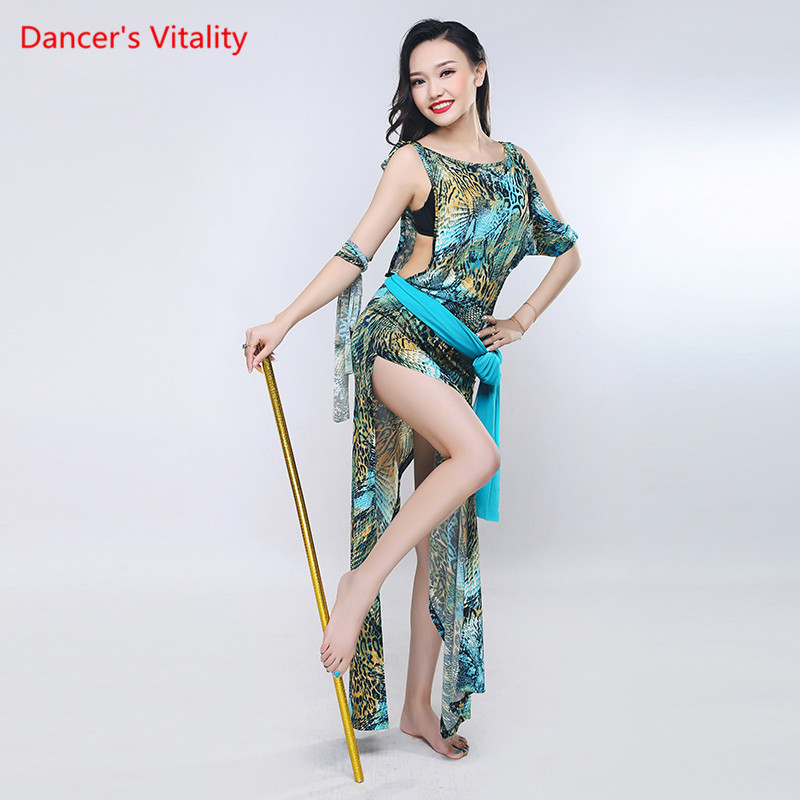 New Ice Silk Practice Wear Robe 4pcs Women Belly Dance Costume Dance Party Style Robe Belly Dance Belt Dress
