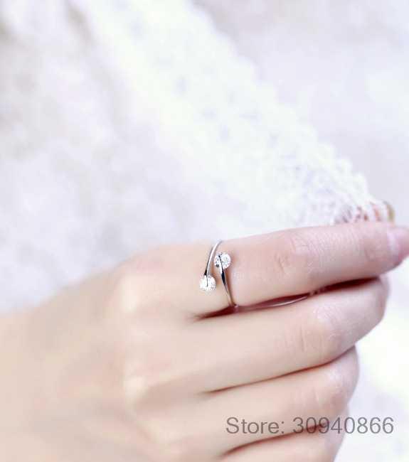925 เงินสเตอร์ลิง Twin Zirconia หมั้นแหวนผู้หญิง Anillos เปิดแหวนเครื่องประดับ