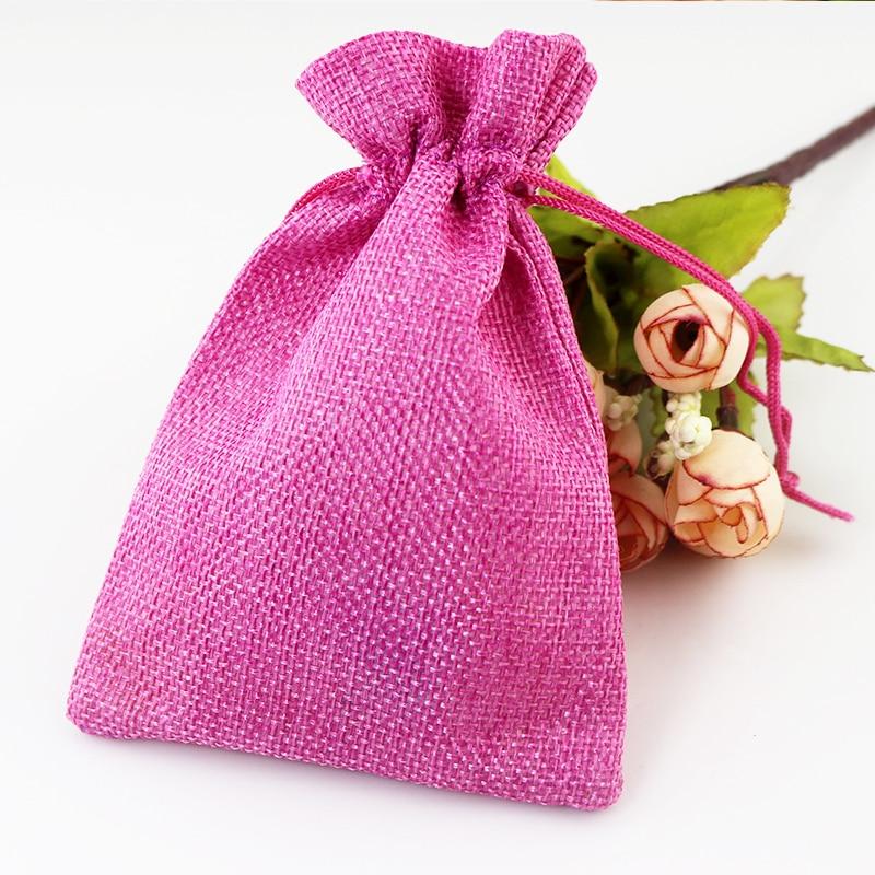10Pcs Pink Flower Linen Jute Drawstring Candy Gift Pouch Wedding Favor Sacks Bag