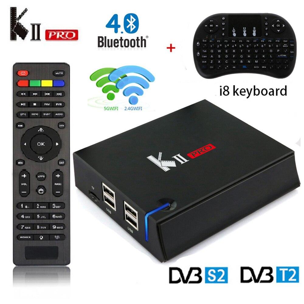 KII PRO DVB-S2 DVB-T2 Décodeur Android 7.1 boîtier de smart tv 4 K S905d Quad Core 2 GB 16 GB lecteur multimédia 2.4G /5G Wifi MECOOL Set Top Box