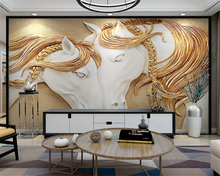beibehang Custom fashion personality silky classic wallpaper embossed horse 3d TV background papel de parede papier peint