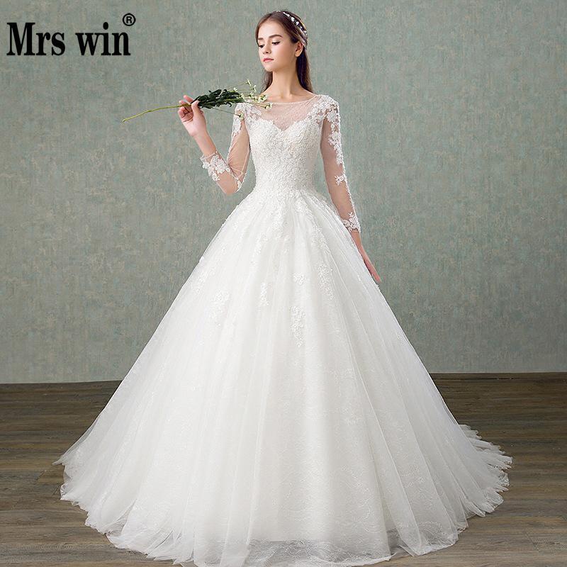 Robe De Mariee Grande Taille 2019 New Mrs Win Full Sleeve Lace Up Princess Illusion Lace Wedding Dress Vestido De Noiva F