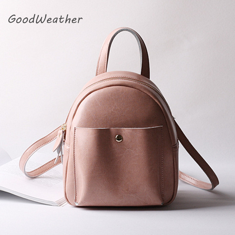 Designer mini pink backpack female casual soft leather backpacks fashion travel shoulder bag schoolbags 4colors rucksacks
