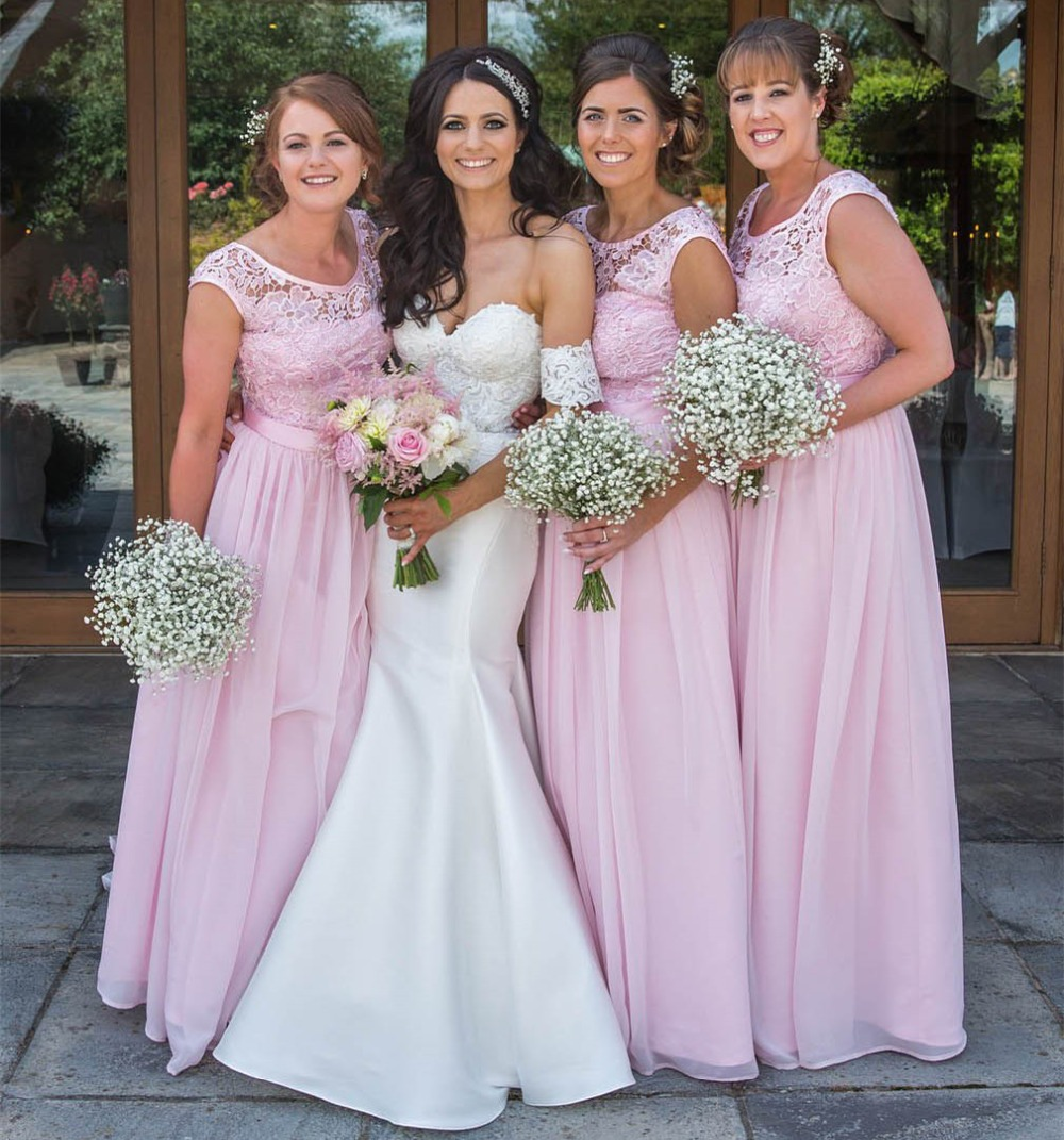 High Quality Blush Pink Chiffon Lace   Bridesmaid     Dresses   A Line Floor Length Long Wedding Party   Dress   Custom Made Women Gowns