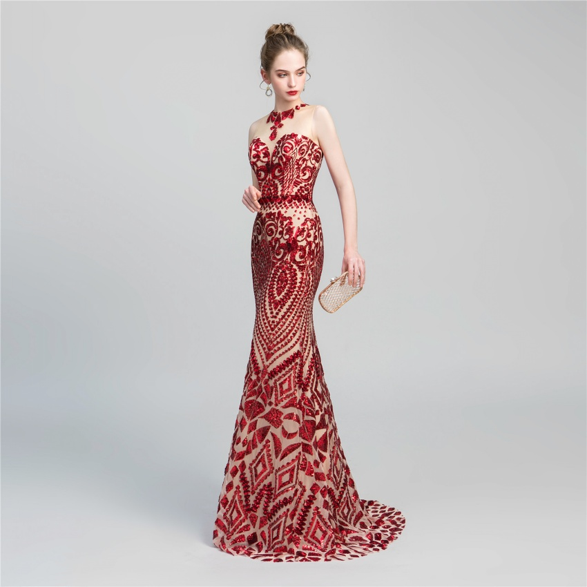 Mermaid Sequined   Evening     Dresses   Long 2019 Embroidery Lace Sexy Red Formal Prom Gowns Vestido Longo De Festa Abiye Gece Elbisesi