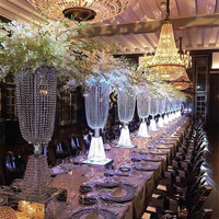 10 sets Luxury Shiny Wedding Decor Centerpieces Crystal Beads String Road Lead Party Table Decoration Candlestick Props