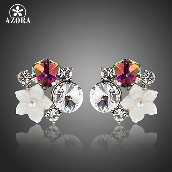 AZORA New Small White Shell Flower With Multicolour Stellux Austrian Polyhedron Crystal Stud Earring for Women TE0270