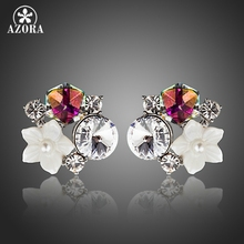 AZORA New Small White Shell Flower With Multicolour Stellux Austrian Polyhedron Crystal Stud Earring for Women TE0270(China)