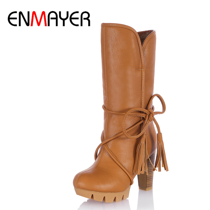 ENMAYER Lace-up High Heels Winter Boots Shoes Woman Mid-calf Round Toe Warm Platform Shoe Large Size 34-43 Western riding boots chunky heels platform faux pu leather round toe mid calf boots fashion cross straps 2017 new hot woman shoes