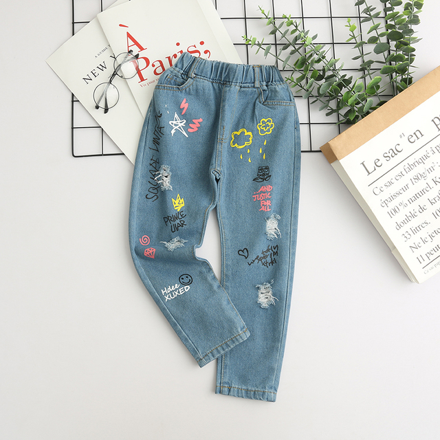 Girls' Light Printed Jeans with Elastic Waist