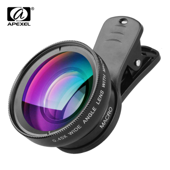 APEXEL Professional HD Camera Lens Kit 0.45X Wide Angle 12.5X Macro Lens Mobile Phone Lens for iPhone 6s plus 7 8 Samsung Huawei