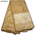 JXFABRIC African Lace Fabric Net 2017 French Lace Fabric Tulle With Sequin Gold High Quality Nigerian Lace Fabrics For Wedding