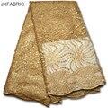 tela de encaje de oro de alta calidad africano francés con lentejuelas de Nigeria el bordado del cordón de la tela para el vestido de boda Accesorios de costura
