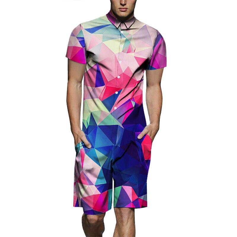 Fashion Men's Short Sleeve Romper Jumpsuit 3D Graphic Print Man Onesies One Piece Suit Male Overalls Men's Set EU Size