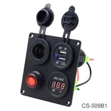 5V 3.1A Aluminium Plate Independent Switch Dual USB Combination Panel with Voltmeter for Car Truck Boat цена в Москве и Питере