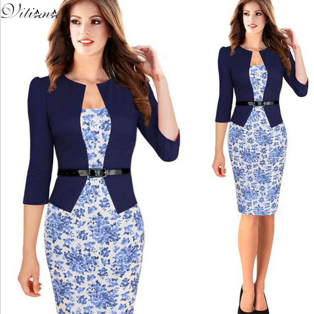 67f577dda3f0 One-piece Faux Jacket Brief Elegant Patterns Work dress Floral Lace  Patchwork Business Pencil Sheath