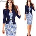 Una sola pieza del faux breve chaqueta elegante patrones de trabajo dress floral lace patchwork vaina bodycon negocios lápiz oficina dress