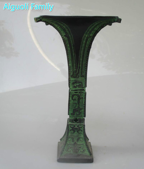 Collectible Home Decorated Chinese Old Bronze Handmade Carved Vase