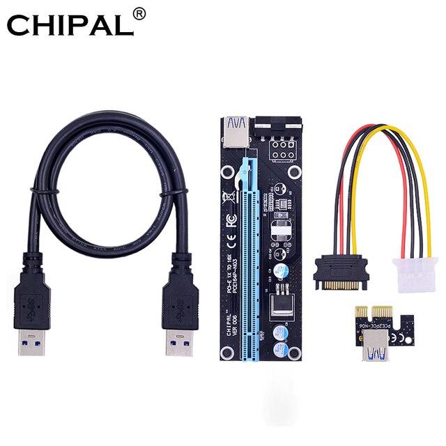 CHIPAL 60 cm PCI Express PCIE 1X à 16X PCI-E Riser Carte Adaptateur USB 3.0 Câble SATA à 4Pin Molex puissance Pour Bitcoin Miner Mines