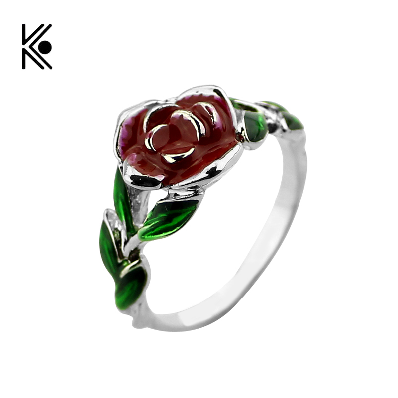 2017 Beauty and the Beast Rose Tree Rings Rose Design Engagement Ring Red Green Enamel Jewelry ...