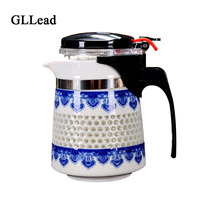 GLLead High Quality Blue And White Porcelain Honeycomb Shape Fashion Tea Pot With Filter Flower Tea Kettle Ceramic Coffee Teapot
