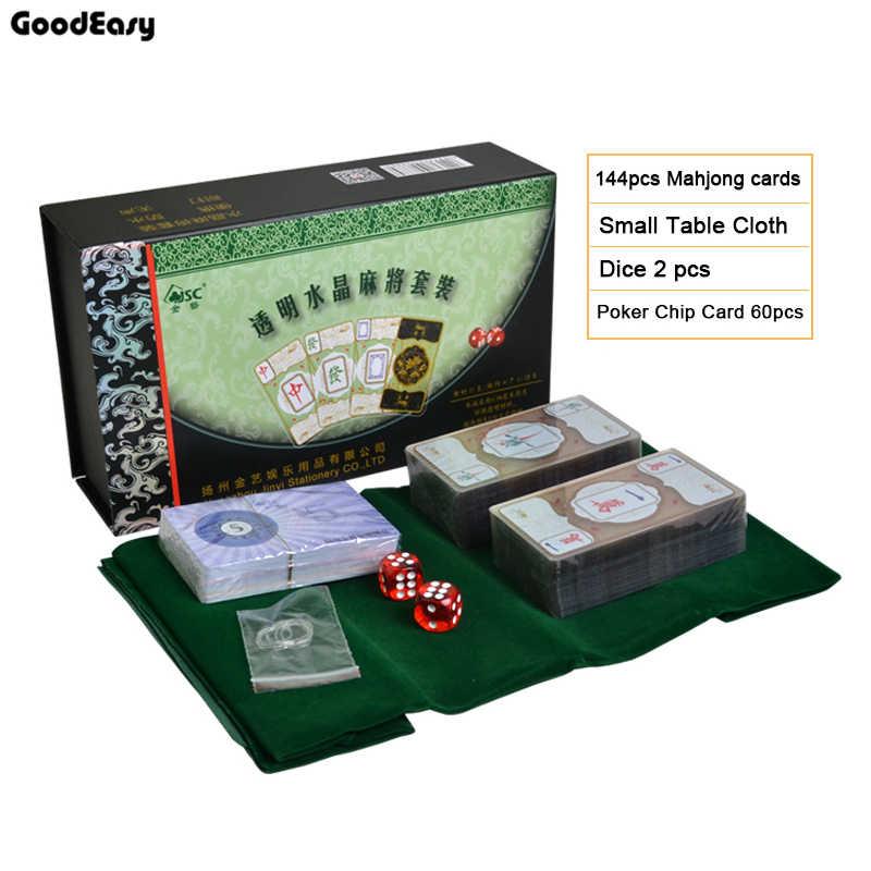 للماء شفافة الكريستال جونغ اللعب بطاقات الصينية التقليدية الكلاسيكية بطاقة ألعاب الطاوله الأسرة ألعاب من ألواح الورق المقوى لعبة