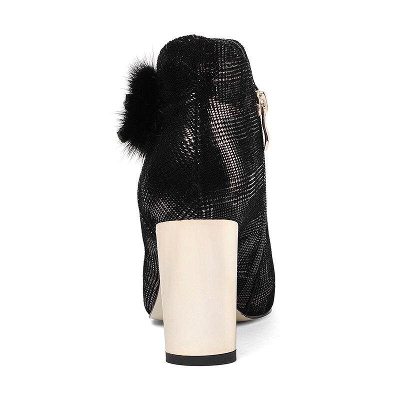 Isnom black 2018 Mao Li Zapatos Dan La Hembra Black Altos Li Piel Tacones Genuino Del Calzado Mujeres Estrecha Punta Impresión Cuero Mujer De Partido Manera Cristal Botas rnarwS