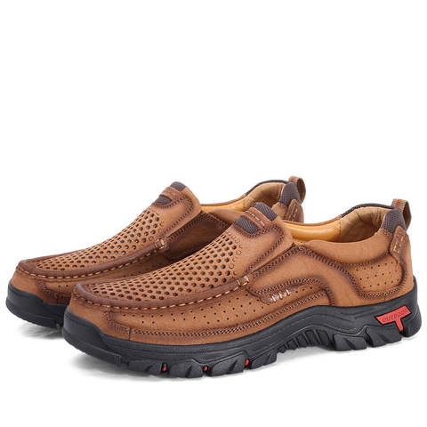 cow leather men brand running shoes genuine leather jogging training shoes breathable outdoor sport running sneakers male shoes Lahore