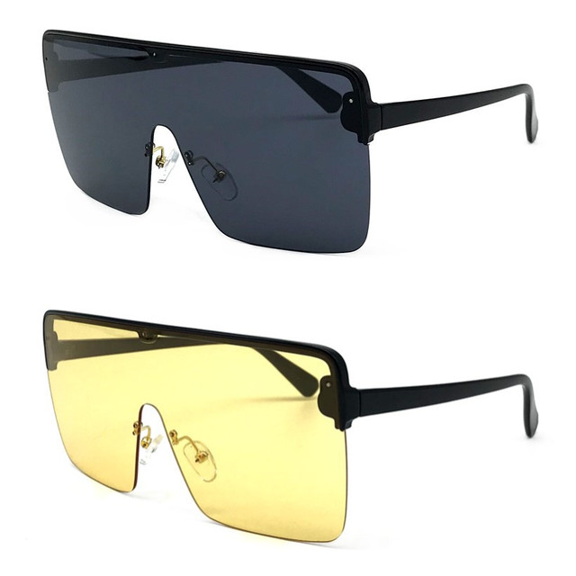 2018 Oversize gafas de sol mujer 2018 marca diseñador Semi-sin montura  cuadrados gafas de 0047750e0ded