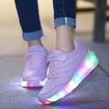 Novo 2016 Homens Mulheres Juniores Luz LED Mulher Sapatilhas Com Rodas de Roller Skate Sapatos Para Homem Respirável