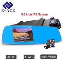 E-ACE Dvr Coche Espejo Retrovisor de 5.0 Pulgadas Auto Cámara de Visión Nocturna con ADAS LDWS FHD 1080 P Grabador de Vídeo Dash Cam Cámara de Dos lente