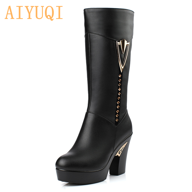 2019 winter women boots first layer of leather high heeled genuine leather boots Gaotong thick with