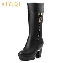 AIYUQI kış kadın botları ilk katman deri yüksek topuklu hakiki deri çizmeler Gaotong itibaren kalın uzun namlulu botları yün