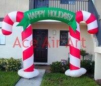 Invoeren deur opblaasbare Kerst decoratie opblaasbare candy cane archway voor Kerst
