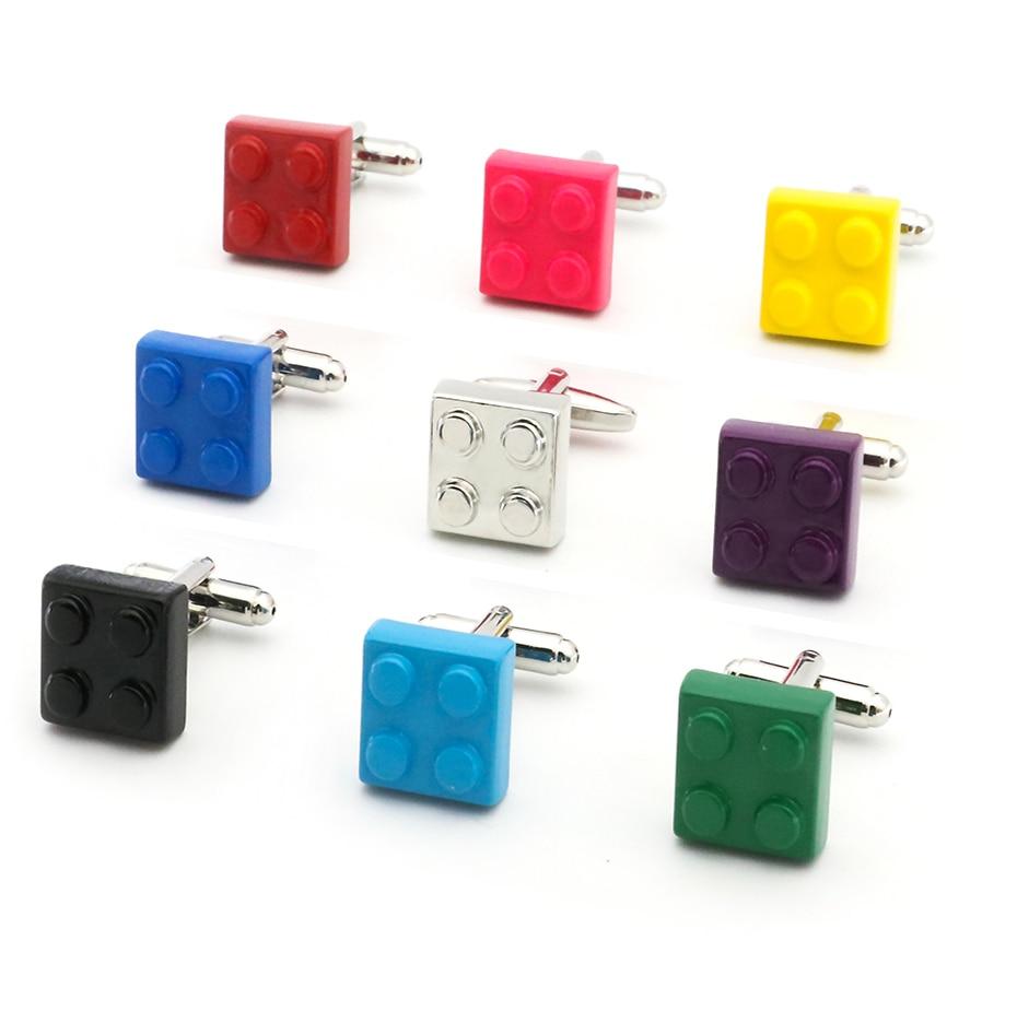 Gratis frakt Block Manschettknappar Muti-färg Tegel Design Blå Röd Svart 9 Färger Alternativ Koppar Nyhet Cuff Länkar Partihandel och detaljhandel