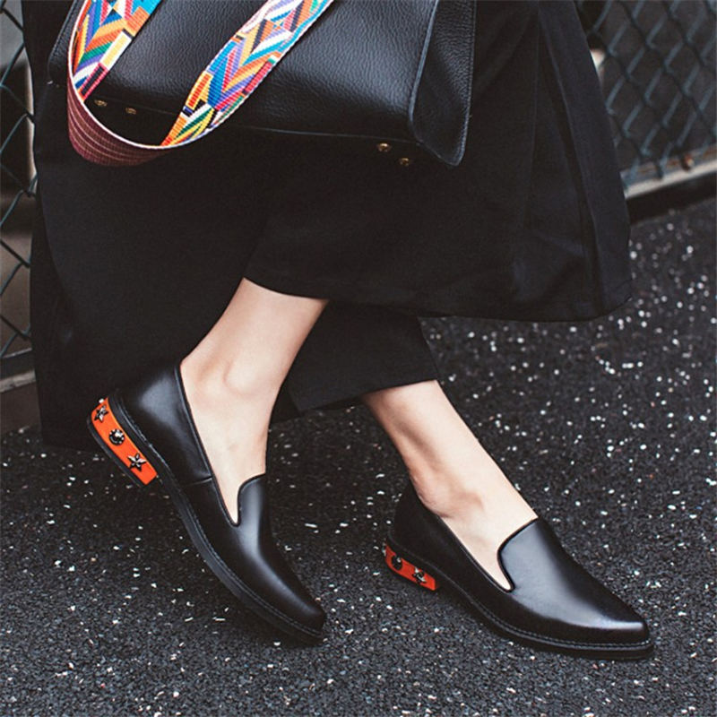 Women flats summer spring single oxford shoes 2019 genuine leather flat heels fashion shoes for woman