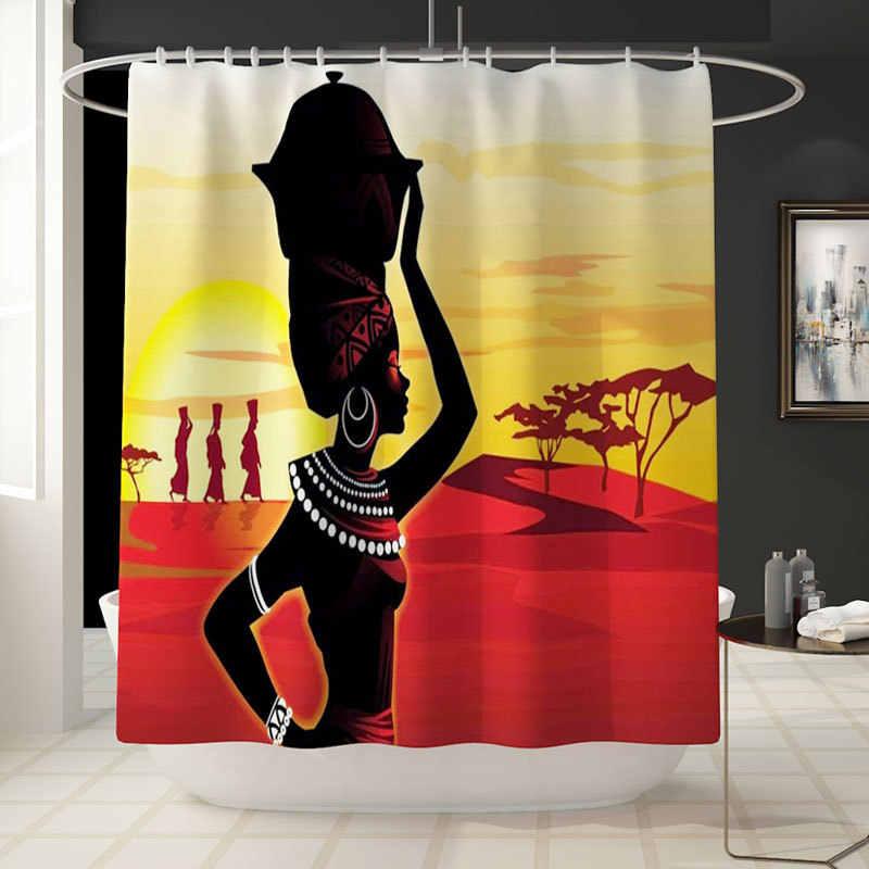 4 adet/takım Afrikalı kadın Duş Perde Ayaklı Kilim Kapağı, Tuvalet Kapak Mat Banyo Mat seti Banyo Perdeleri ile 12 Kanca