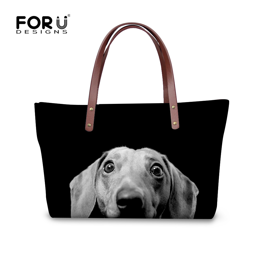 FORUDESIGNS Women Handbags Cute 3D Dachshund Dog Womens Cross-body Bags Animal Prints Tote Female Shoulder Messenger Bags Ladies women vintage handbags ladies tote cross body shoulder messenger england