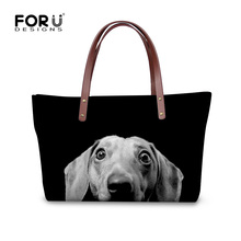FORUDESIGNS Women Handbags Cute 3D Dachshund Dog Womens Cross-body Bags Animal Prints Tote Female Shoulder Messenger Bags Ladies